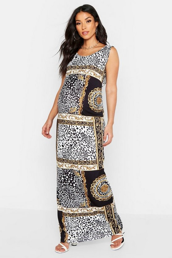 Womens Black Maternity Chain Print Scoop Maxi Dress