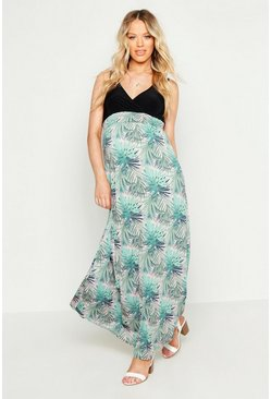 Robe Maxi imprimé tropical maternité, Rose, Femme