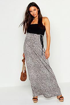 Maternity Leopard Print Bandeau Maxi Dress