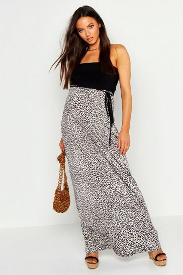 Womens Tan Maternity Leopard Print Bandeau Maxi Dress