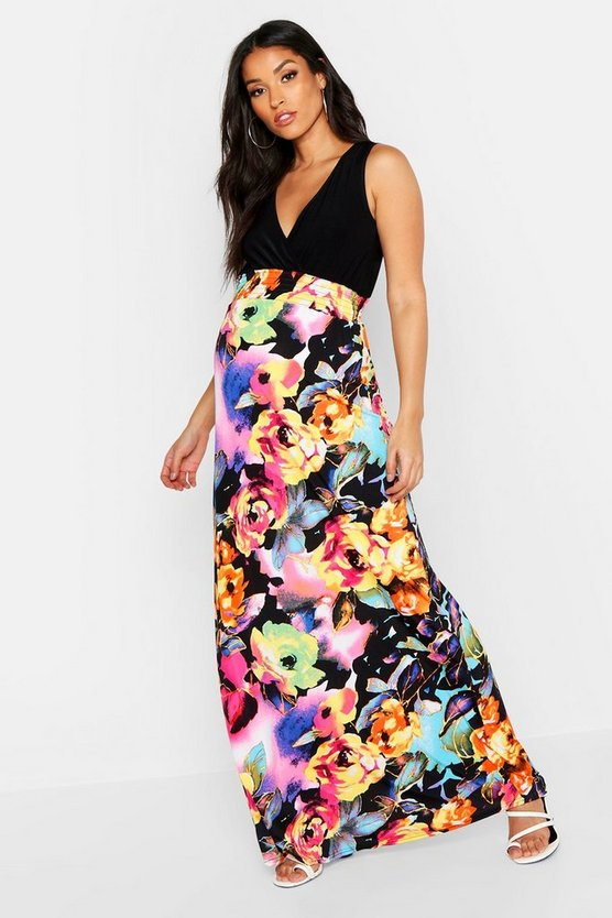 Womens Multi Maternity Floral Maxi Dress