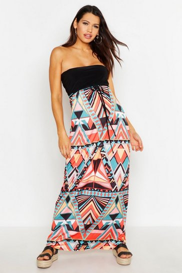 Multi Maternity Aztec Bandeau Maxi Dress