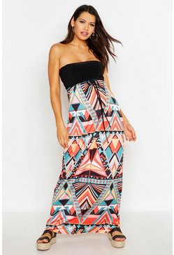 Womens Multi Maternity Aztec Bandeau Maxi Dress