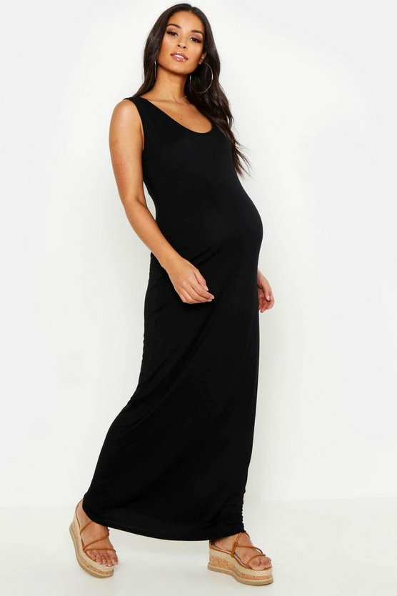 Womens Black Maternity Scoop Neck Maxi Dress