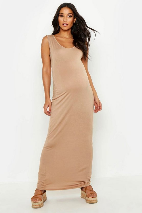 Camel Maternity Scoop Neck Maxi Dress