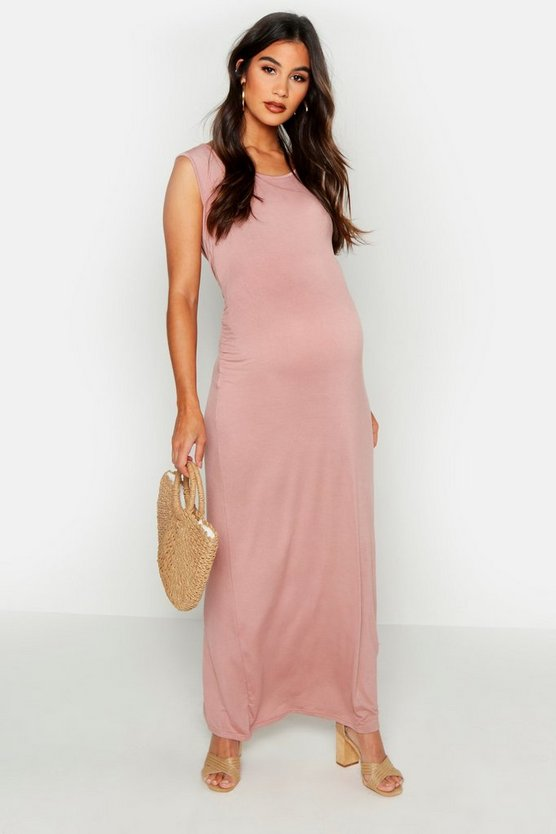 Womens Dusky pink Maternity Scoop Neck Maxi Dress
