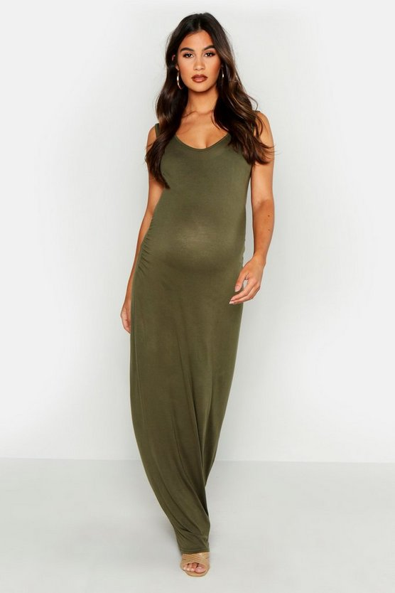 Womens Khaki Maternity Scoop Neck Maxi Dress