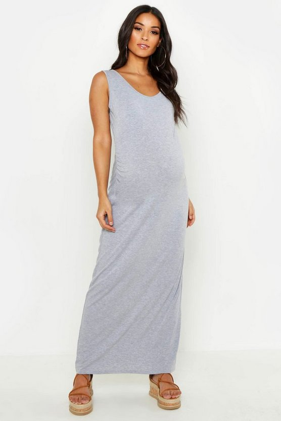 Womens Light grey Maternity Scoop Neck Maxi Dress