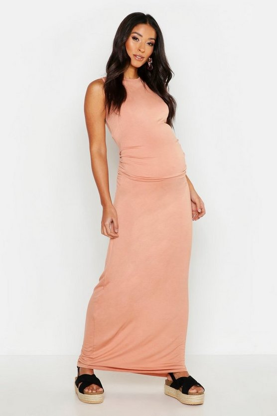 Womens Dusky pink Maternity Racer Neck Maxi Dress
