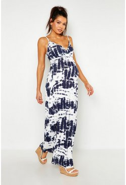 Womens White Maternity Tie Dye Maxi Dress