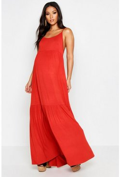Womens Rust Maternity Tierred Maxi Dress