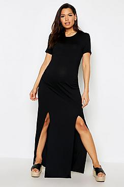 Maternity Slit Front Cap Sleeve Maxi Dress
