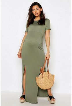 Khaki Maternity Slit Front Cap Sleeve Maxi Dress
