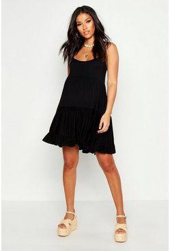 Womens Black Maternity Tiered Beach Smock Dress