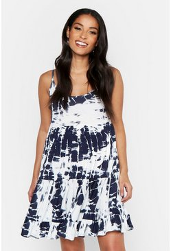 Navy Maternity Tie Dye Print Strappy Smock Dress
