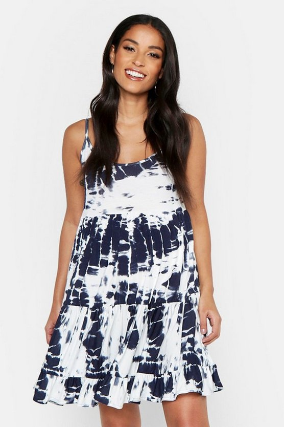 Womens Navy Maternity Tie Dye Print Strappy Smock Dress