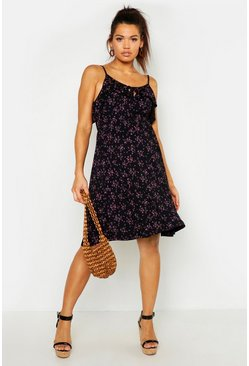 Black Maternity Ruffle Sundress