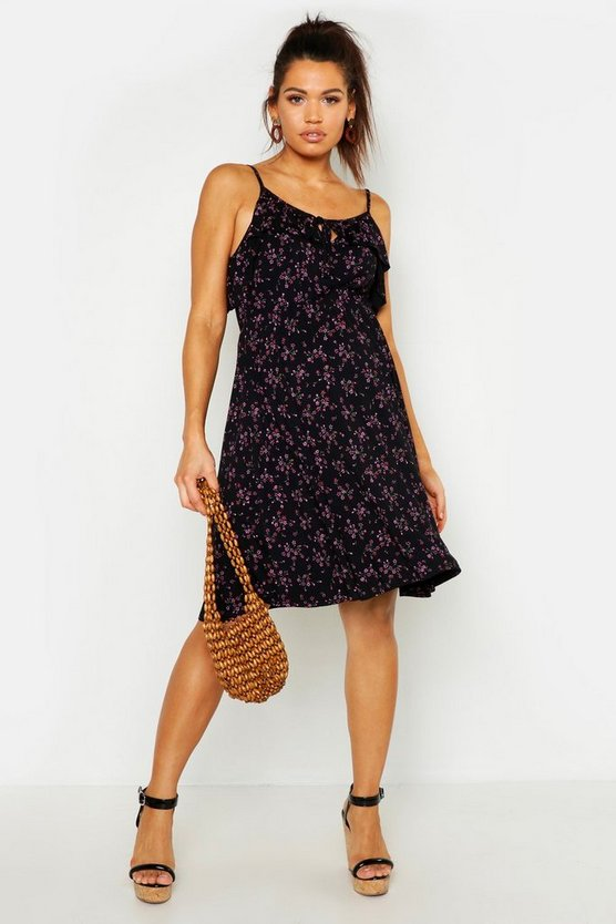Womens Black Maternity Ruffle Sundress