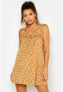 Yellow Maternity Ditzy Floral Sundress