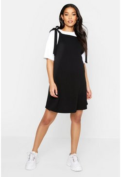 Womens Black Maternity Tie Strap Pinafore Dress