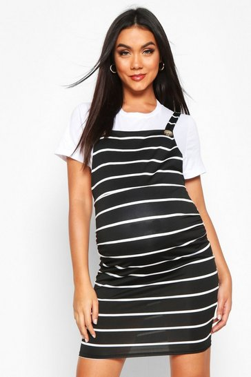 Womens Black Maternity Stripe Pinafore Dress