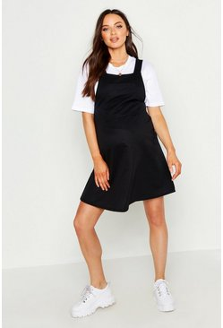 Womens Black Maternity Loop Back Pinafore Dress