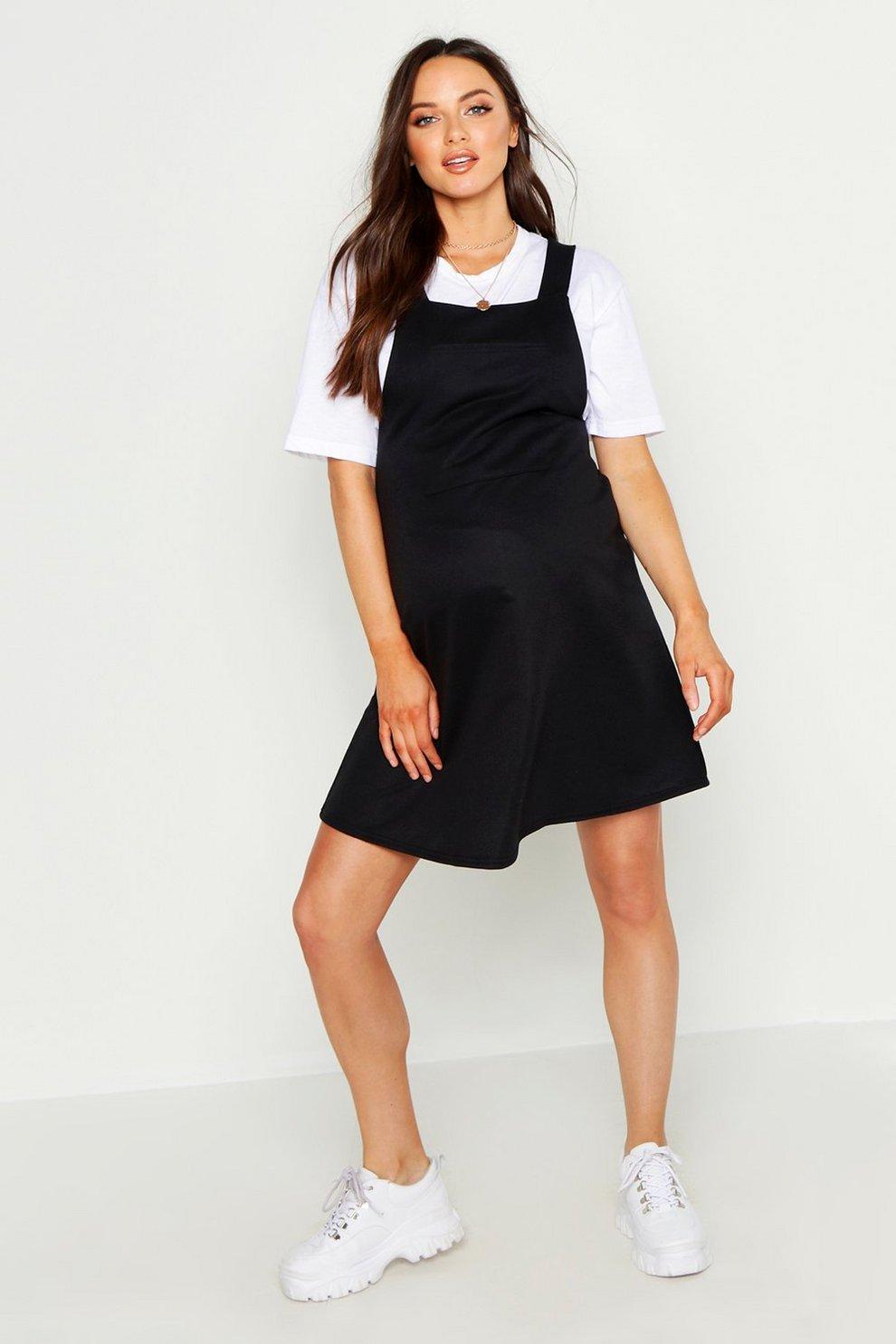 d636f4200fe45 Maternity Loop Back Pinafore Dress | Boohoo