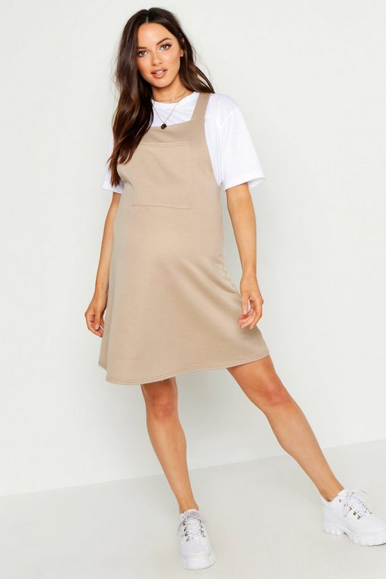Womens Camel Maternity Loop Back Pinafore Dress