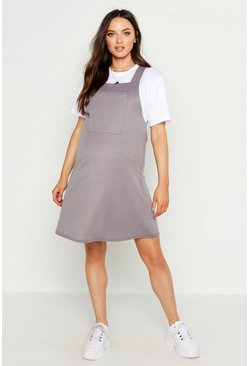 Womens Light grey Maternity Loop Back Pinafore Dress