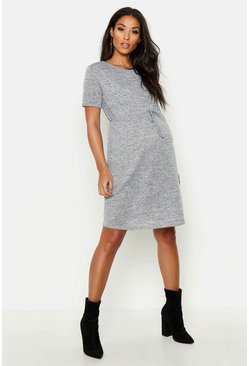 Womens Light grey Maternity Short Sleeve Swing Dress