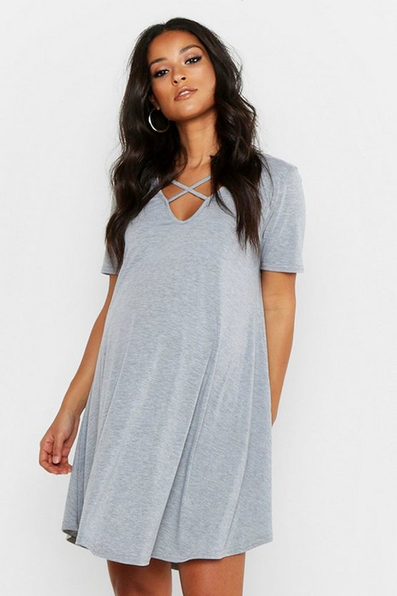 Womens Light grey Maternity Cross Strap Short Sleeve Swing Dress