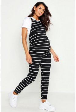 Black Maternity Stripe Overall