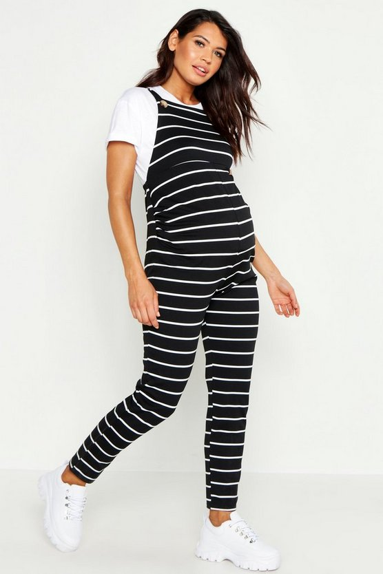 Womens Black Maternity Stripe Dungaree