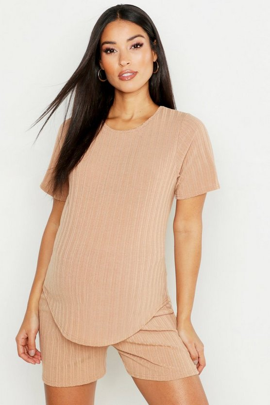 Camel Maternity Rib Short & Tee Lounge Set