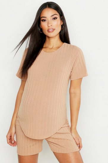 Womens Camel Maternity Rib Short & Tee Lounge Set