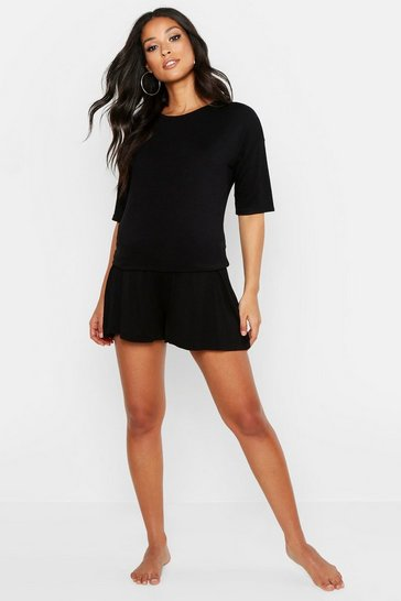 Womens Black Maternity Mix and Match Oversized Pyjama Tee
