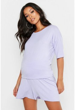 Womens Lilac Maternity Mix and Match Oversized Pyjama Tee