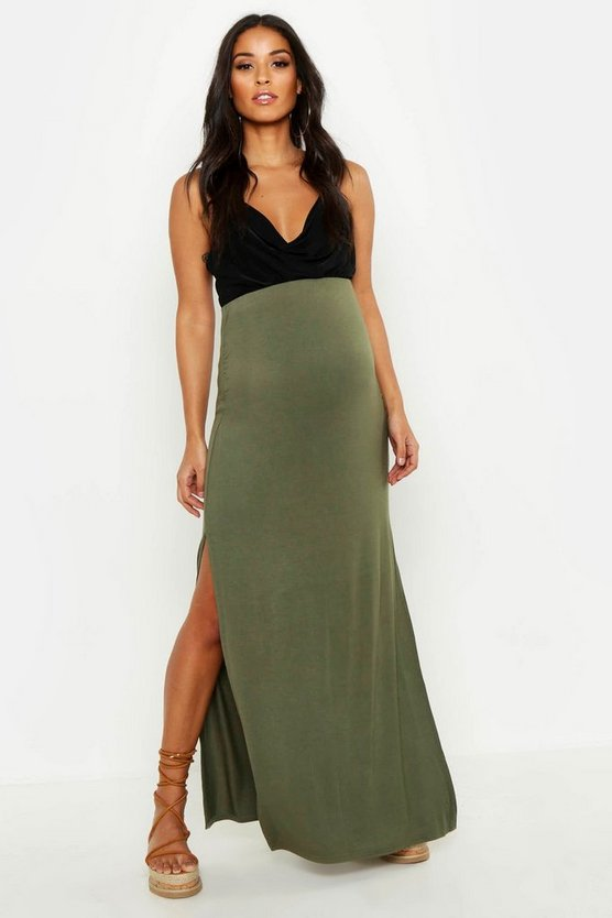 Womens Khaki Maternity Basic Jersey Maxi Skirt