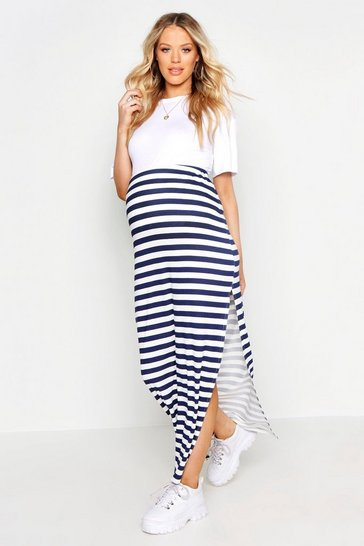 Womens Navy Maternity Stripe Maxi Skirt