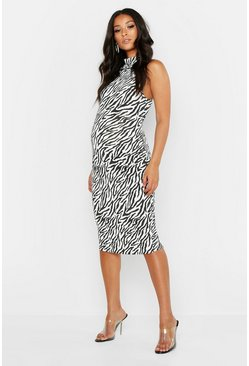Womens White Maternity Sleeveless Zebra Midi Dress
