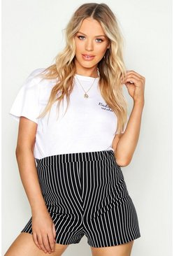 Womens Black Maternity Stripe Print Flippy Short