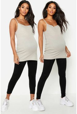 Womens Black Maternity 2 Pack Full Length & 3/4 Length Legging