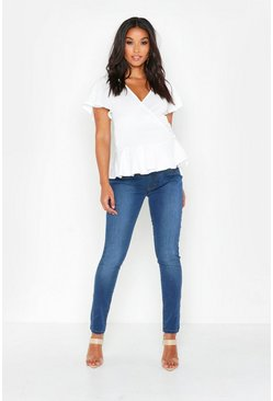 Womens Mid blue Maternity Basic Jegging