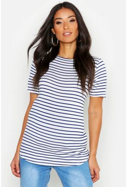 Womens White Maternity Stripe Tee