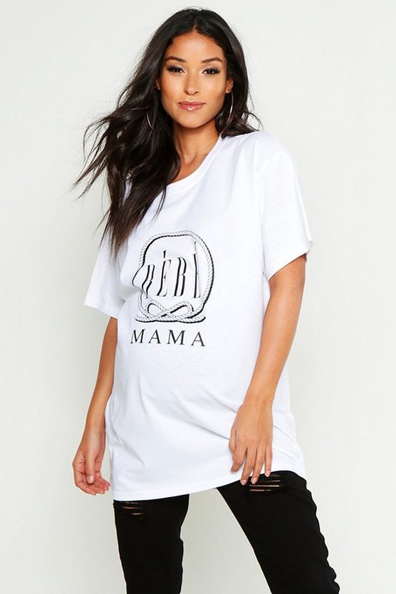 Womens White Maternity Bebe Mama Slogan Tee