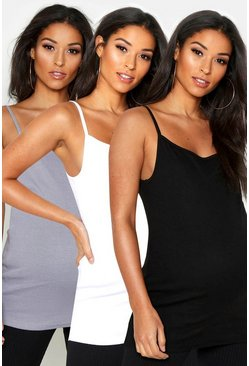 Womens Multi Maternity 3 Pack Ribbed Cami Top