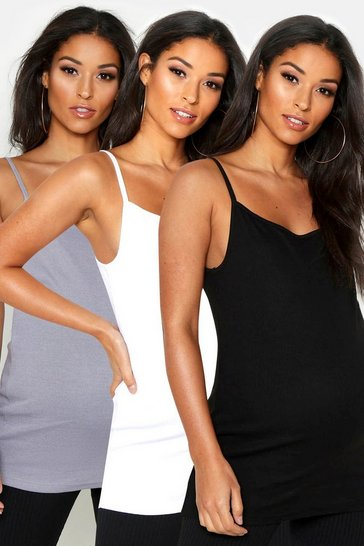 Multi Maternity 3 Pack Ribbed Cami Top