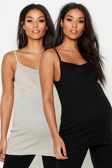 Womens Multi Maternity 2 Pack Cami Top