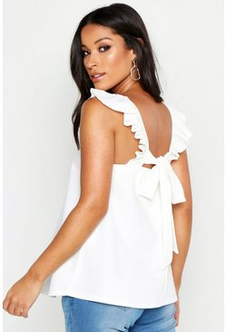 Womens White Maternity Frill Shoulder Back Detail Cami