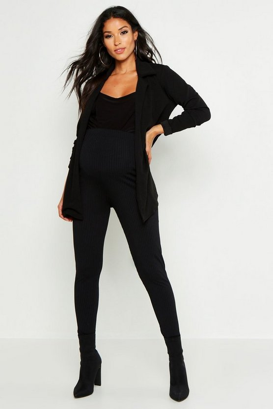 Womens Black Maternity Mid Length Duster Jacket